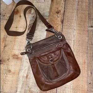 Fossil leather brown crossbody